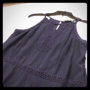 Spense NavyBlue Embroidered Handkerchief Hem Dress
